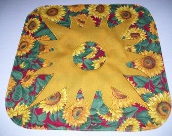 Candle mat-sunflower candle mat-sunflower decoration-summer decoration-table decoration-machine appliqued
