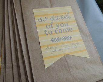 Smokey + Yellow Stripes Baby Shower Treat Bag Label {Gender Neutral} {Digital Item}