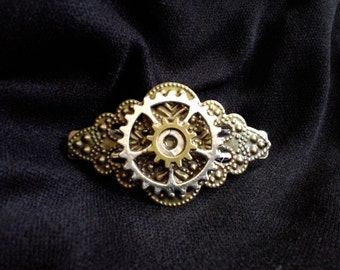 Handmade Steampunk mixed metals bronze and silver gear hair barrette  FREE SHIPPING!