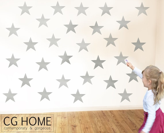 """stars SILVER 6"""" pattern STAS 6 inches Wall Decal vinyl sticker CGhome"""