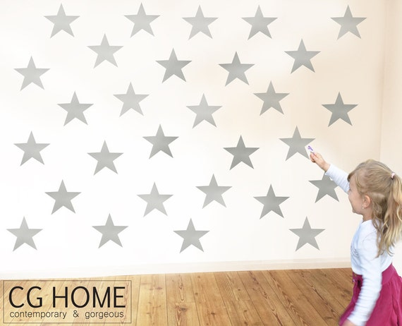 Wall Decal Self Adhesive Removable Star Wall Sticker Silver Stars Wall Pattern Vinyl sticker CGhome