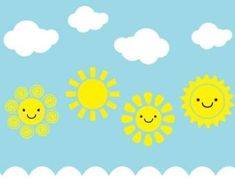 Lovely Smiley Face Sun Wall Decal, Sun Wall Decal, Sun Decals, Sun, Sunny Day