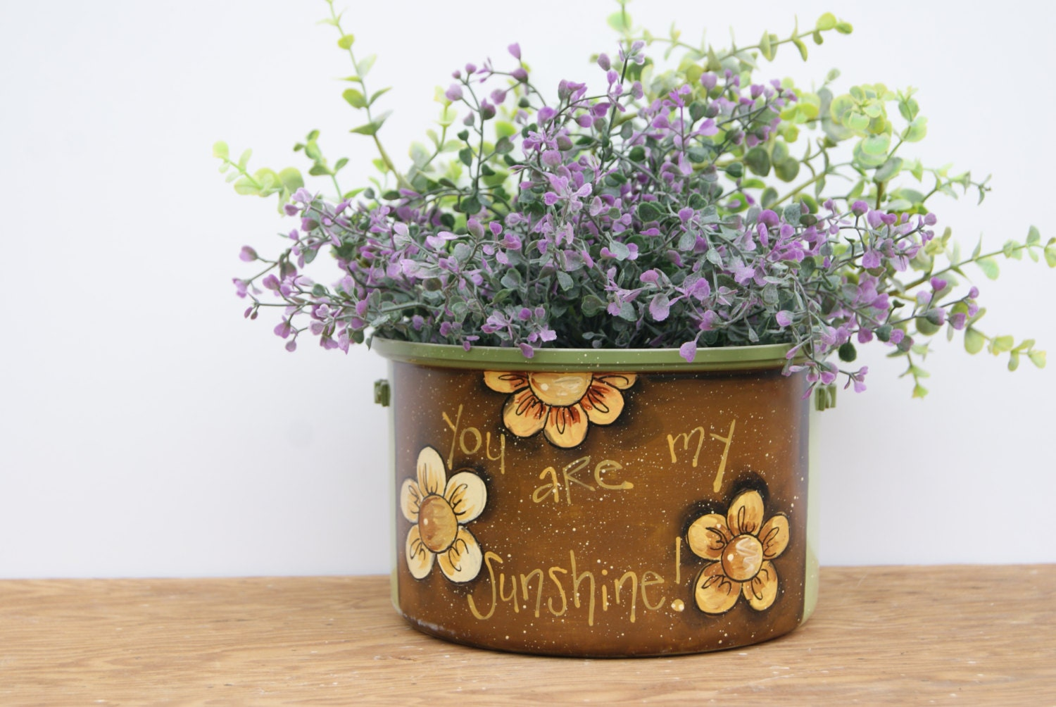 Https Www Etsy Com Listing 228024336 Sage Flower Pot Kitchen Decor Hand