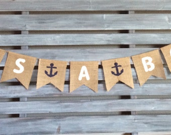 It's A Boy Burlap Banner, It's A Boy Banner, It's a Boy Sign, Nautical Baby Boy Banner, Nautical Burlap Banner, Nautical Baby Shower