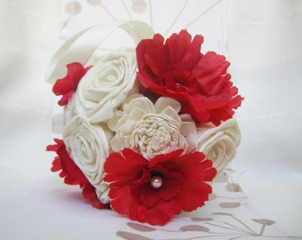 Wedding Small ball Red  , Wedding Cream/Red Bouquet, Sola flowers