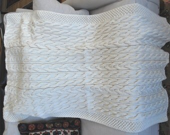 Hand Knit Irish Fisherman Pattern Afghan by ConnieKnitCreations