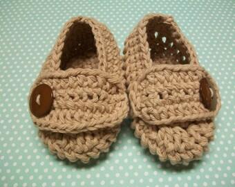 Beige Baby Booties, Beige Baby Shoes, Beige Newborn Shoes, Beige Crib Shoes, Beige Cotton Baby Booties, Beige Crochet Baby Shoes