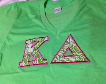 Kappa Delta Neon Green V-Neck T-Shirt in Size Extra Small, Small Medium, Large and XL.  (White and Pink available in sizes XS to XL