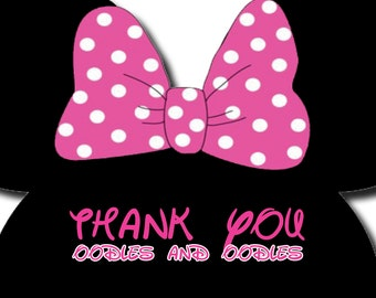 Minnie Mouse Thank You Oodles and Oodles Thank You Cards Digital
