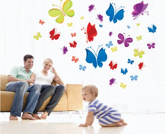Butterflies Nursery Kids Baby Wall Decals / Wall Stickers - AW7271