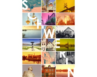 Schwerin Poster A2 42cm x 60cm colorful new original by photographer portrait