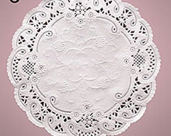 "8"" White French Lace Paper Doilies - 50 Quantity"