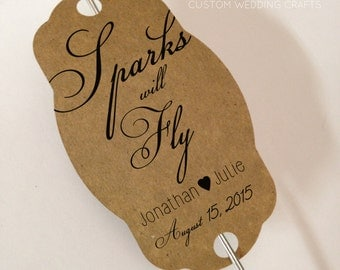 Personalized Sparkler Tags for Weddings on Kraft Paper - Set of 24