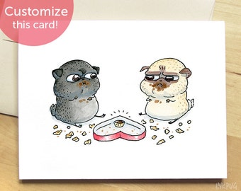 Chocolate Standoff Pug Valentine's Day Card - Funny Valentines Day Card for Friends, Best Friend Card, Anniversary Card, I Love You Pug Card
