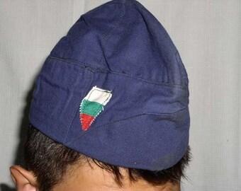 Vintage Soviet Era Bulgarian military cotton mechanics cap hat army communist socialist garrison side