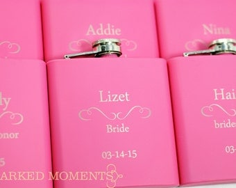 7 Engraved flasks, 7 Pink Bridesmaid Gifts 6oz for bridesmaids, maid of honor, matron of honour Hip Flask SET OF 7 - CLASSIC