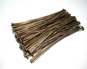 100pcs Copper Tone Head Pins 50mmx0.7mm(2''21 gauge)(No.591)