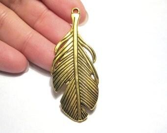 4pcs Antique Gold Large Feather Charm Pendants 53x20mm
