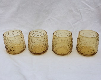 Funky Vintage Amber Glasses with bumps.