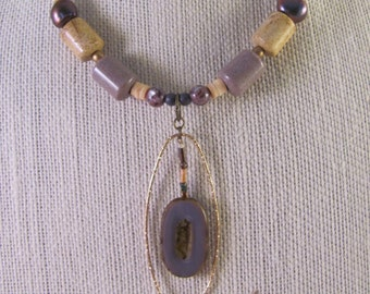 Gold and Czech glass statement necklace