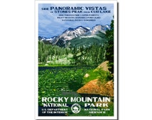"""Free Shipping!  Rocky Mountain (Cub Lake) National Park Poster, WPA style 13"""" x 19"""" Signed by the artist."""