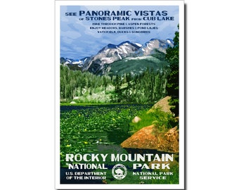 """Rocky Mountain (Cub Lake) National Park Poster, WPA style 13"""" x 19"""" Signed by the artist. FREE SHIPPING!"""