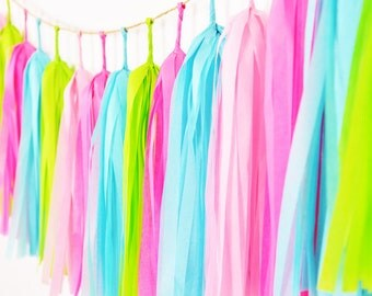 Hot Pink Turquoise Tassel Garland, Lilly Pulitzer Inspired Garland, Lilly Pulitzer Theme Party, Hot Pink Nursery, Turquoise Garland
