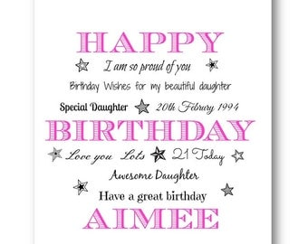 Personalised Typography Birthday Card / Personalized Birthday Card 30th 18th 21st 40th 50th 60th Wife Husband Auntie Niece Daughter Sister