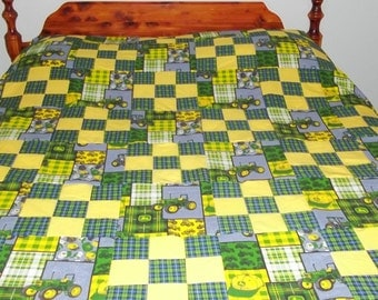 nine patch and tractors quilt top