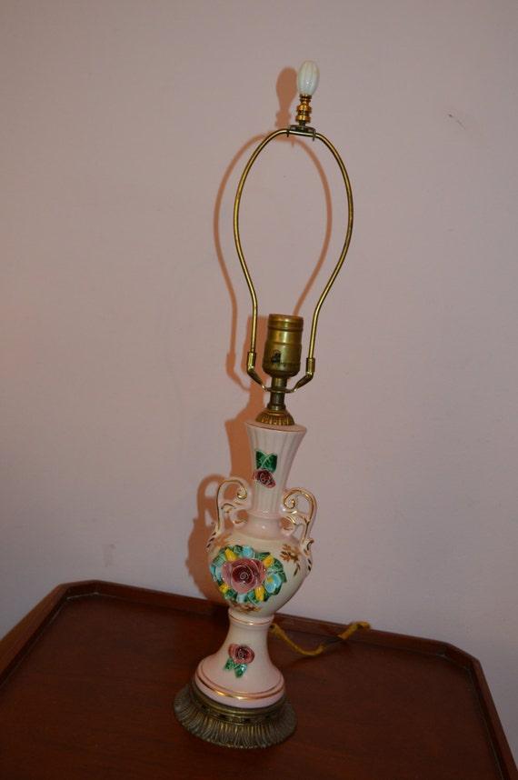 Maginificant 1940 S Ceramic Rose Lamp