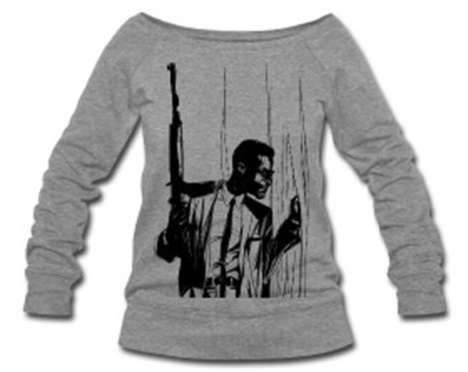 Malcolm X By Any Means Necessary Wide Neck Off Shoulder Slouchy Women's Sweatshirt - Gray