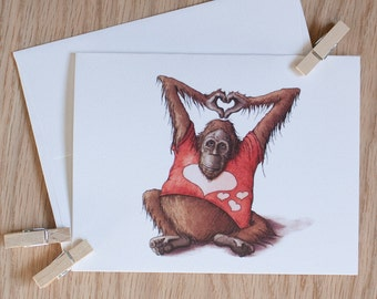 LOVE Orangutan Valentine Cards w/Envelopes {8-Pack}