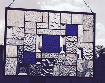 Beautiful Royal Blue Cobblestone Stained Glass Panel