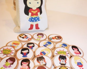 Superhero Girls Wooden Memory Match Game- Personalized Wood Game, Montessori, Educational Toy, Wood Travel Toy, Travel game
