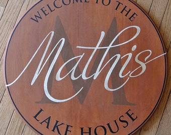 Personalized Lake House Family Name Sign - Monogram Round Sign - Wedding Anniversary Gift  - Custom Gift - Wood Sign - Cabin - Lake Home