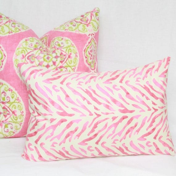 Etsy Pink Throw Pillow : Items similar to Pink & cream decorative throw pillow cover. 13