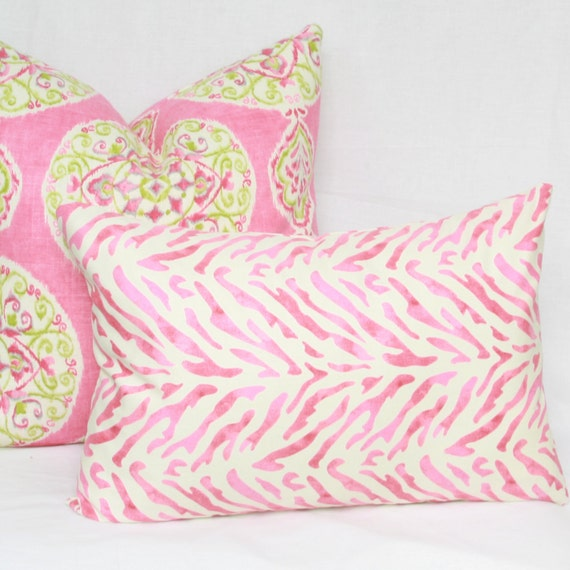 Items similar to Pink & cream decorative throw pillow cover. 13