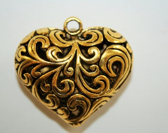 Heart Pendant Gold Puffy Large Heart  - 28x33mm - 1ct - #301