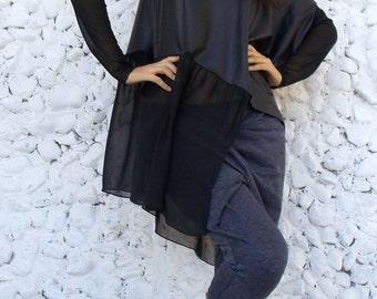 Gothic Asymmetrical Hoodie Tunic / Extravagant Black Top TT37