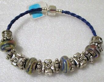 755 - CLEARANCE - Blue Swirl Beaded Bracelet