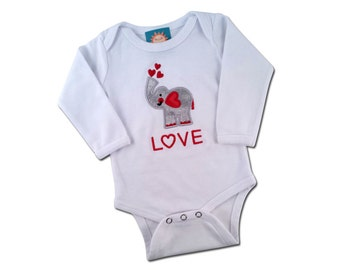 Baby Love Elephant Bodysuit with Embroidered 'LOVE'