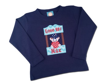Boy's Valentine Shirt with Kissing Booth and Embroidered Name