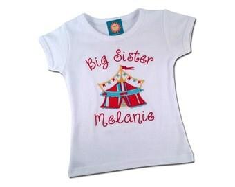Big Sister Circus Birthday Shirt with Embroidered Name