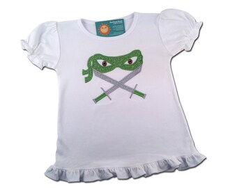 Girl's Ninja Shirt with Glitter Mask and Weapon of your Choice