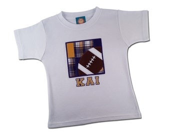 Football Box Shirt with Purple and Yellow Madras Plaid and Embroidered Name - M35
