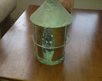 "Vintage 1920""s copper gold glass hanging porch light"