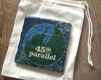 Traverse City Coaster Tile featuring 45th parallel custom art