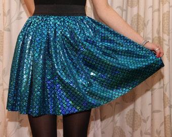 Sparkly Blue Mermaid Scale Skirt - Elasticated Waist