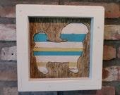 Shih Tzu shadowbox wall art in reclaimed wood.