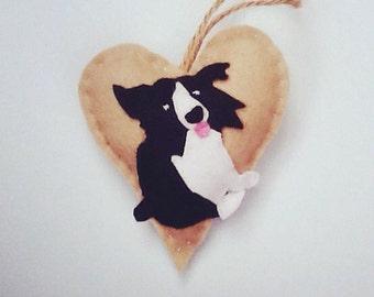 Border Collie gift / Handmade Border Collie gift / Border Collie gift UK / Border Collie puppy / Felt heart decoration